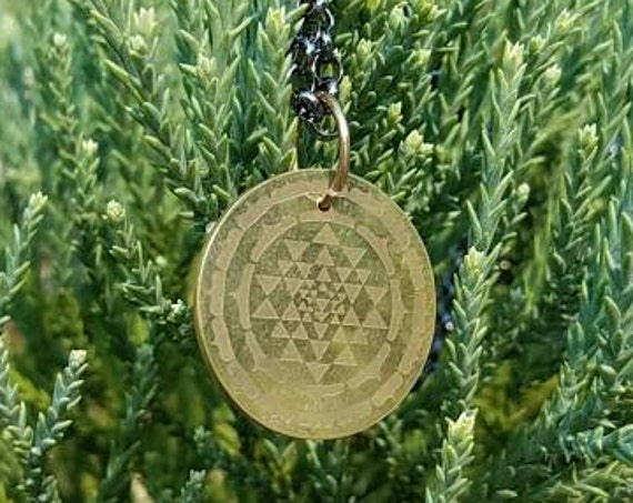Sri Yantra Brass Pendant with Chain - Sacred Geometry