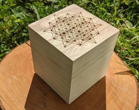 64 Tetrahedron Grid Laser Engraved Cubic Wooden Box - Sacred Geometry - Crystal Grid Storage Box