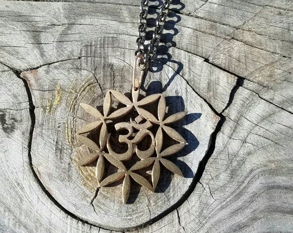 Om and Flower of Life Pendant - Sacred Geometry