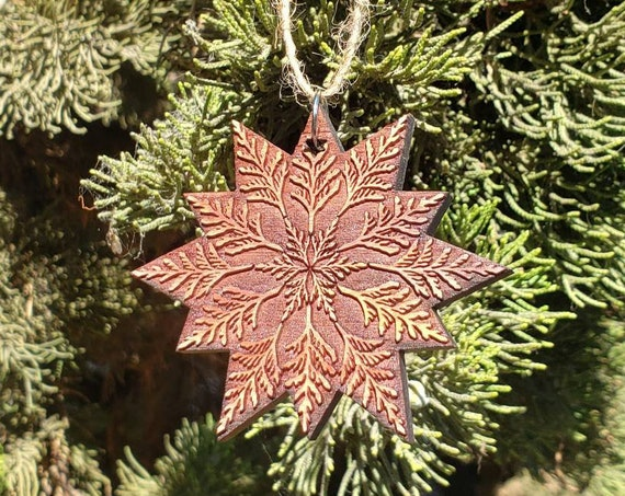 Cedar Mandala Holiday Ornament - Laserengraved Reclaimed Western Redcedar - Sacred Geometry - Pacific Northwest PNW NorCal Style