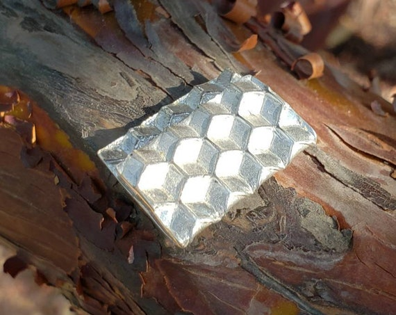 Honeycomb Bill Clip in Recycled 925 Silver - Sacred Geometry - Hexagons
