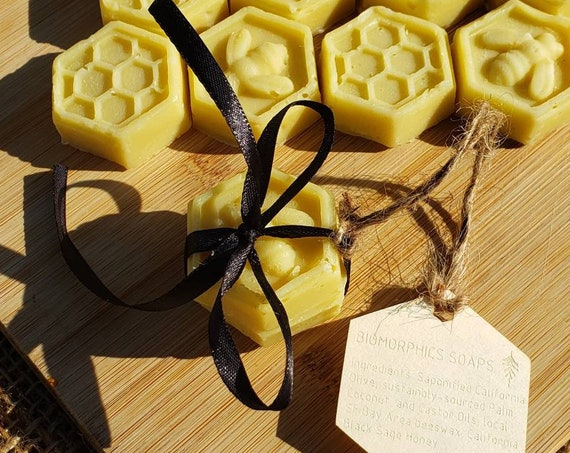 2x Beehive Mini Soap Set with California Black Sage Honey, Local SF Bay Area Beeswax, and California Olive Oil