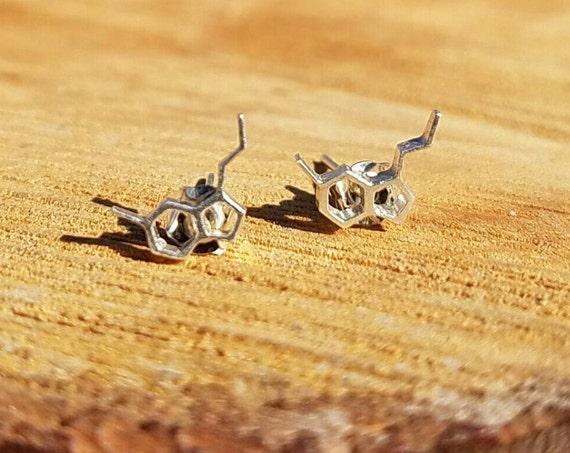 Serotonin Molecule Sterling Silver Stud Earrings