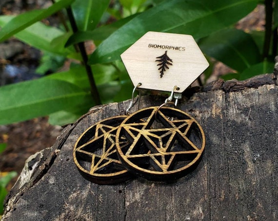 Star Tetrahedron Red Alder Wood Dangle Earrings - Sacred Geometry