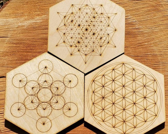 ONE Sacred Geometry Coaster or Mini Crystal Grid - Flower Of Life, 64 Tetrahedron, Metatron - LaserEngraved from Sustainably Grown Wood