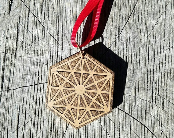 64 Tetrahedron Tree Ornament - Reclaimed Northern California Wood Sacred Geometry Inlay