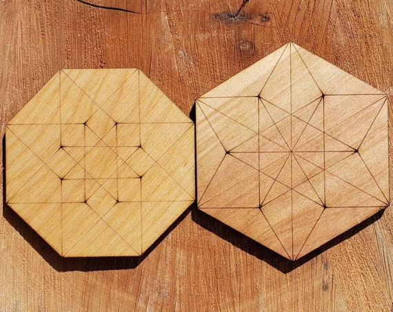 ONE Sacred Geometry Coaster or Mini Crystal Grid - Hypercube Tesseract or Vector Equilibrium  - LaserEngraved from Sustainably Grown Wood