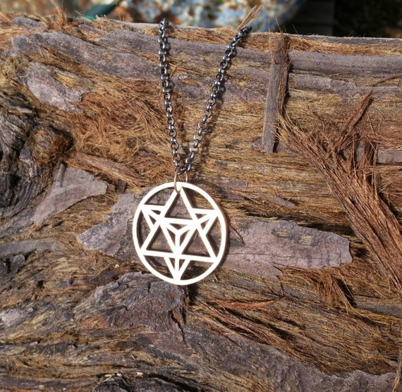 Star Tetrahedron Bronze Pendant with Chain - Sacred Geometry