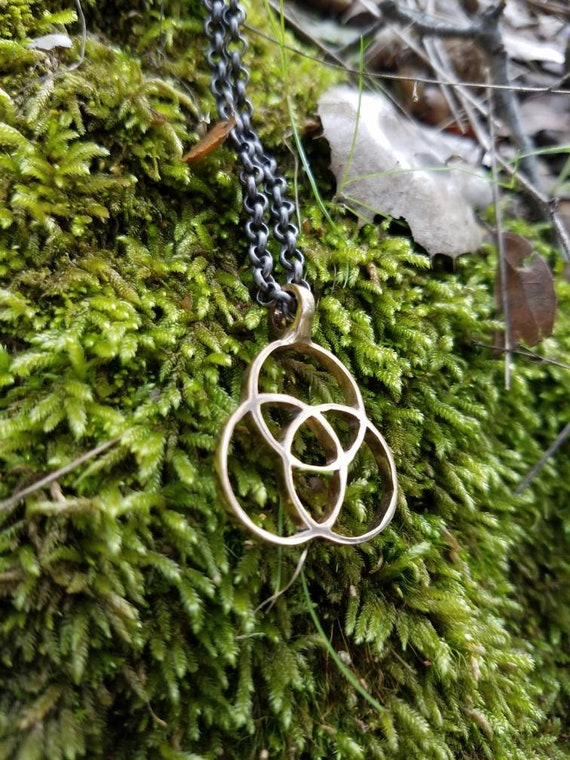 Tripod Of Life Cast Bronze Pendant - Sacred Geometry - Healing