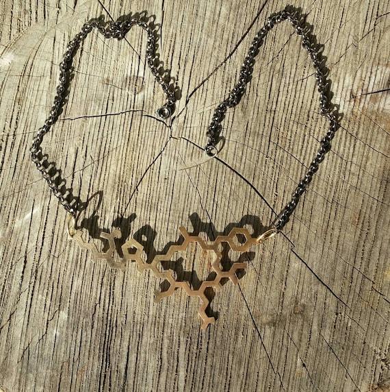 Oxytocin Molecule Structure Necklace in Bronze - Contemporary Love Pendant