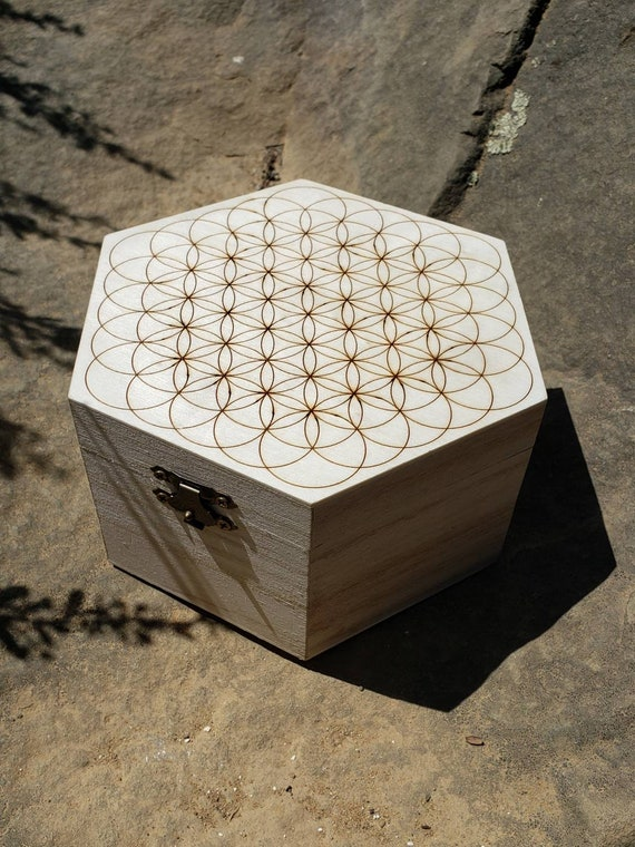 Flower of Life Laser Engraved Hexagon Wood Box - Sacred Geometry - Metatron's Cube