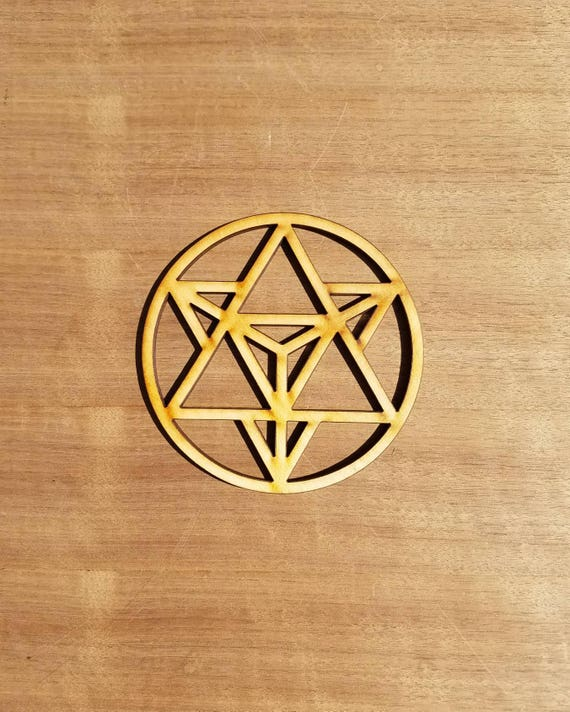 Mini Star Tetrahedron Sustainable Wood Lasercut Wall Art or Crystal Grid