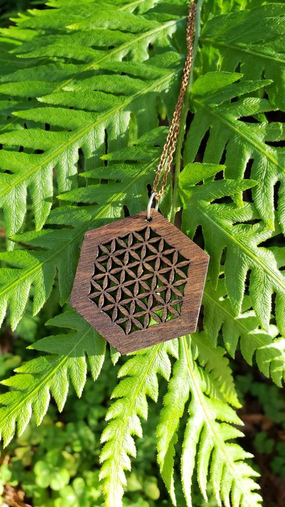Flower of Life Laser Cut Reclaimed Wood Pendant with Copper Chain - Sacred Geometry