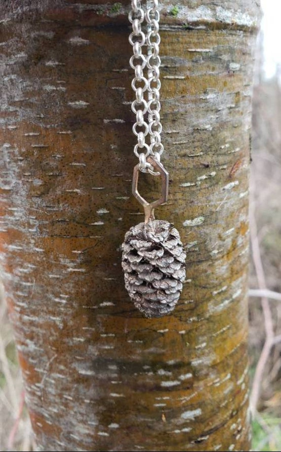 White Alder Cone Hexagon Mixed Metal Pendant - Shibuichi with Silver Fill Chain