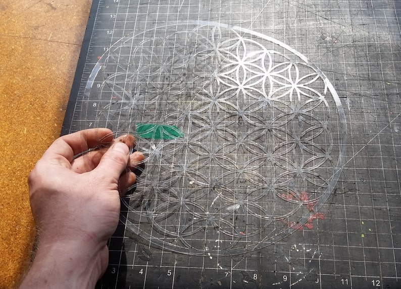 Full Bloom Flower of Life Sacred Geometry Stencil image 0
