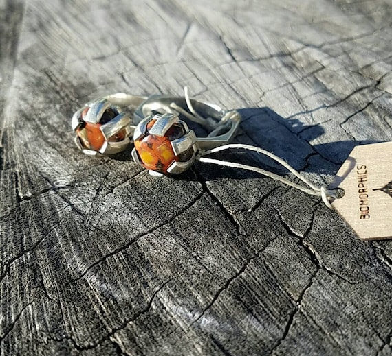 Sterling Silver Hexagon Morgan Hill Poppy Jasper Ring