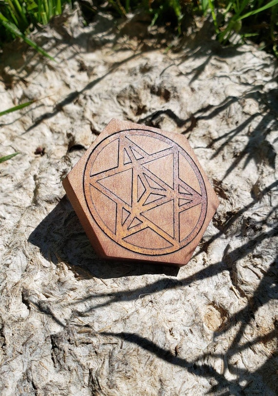 Star Tetrahedron Symbol Reclaimed Wood Inlay Sacred Geometry Hat Pin - Native NorCal Woods