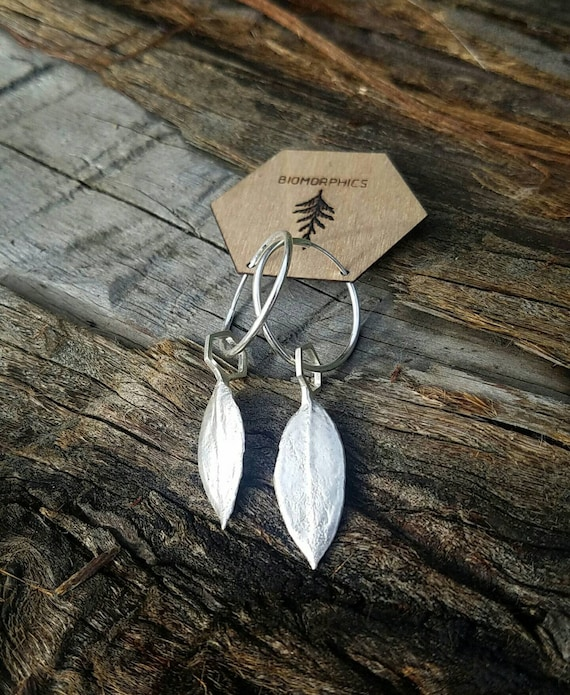 Manzanita Leaf Hexagon Hoop Earrings - Northern California Forest Art Jewelry in Recycled Sterling Silver