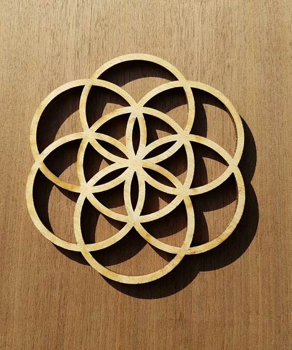 Mini Seed of Life Sustainable Wood Lasercut Wall Art or Crystal Grid