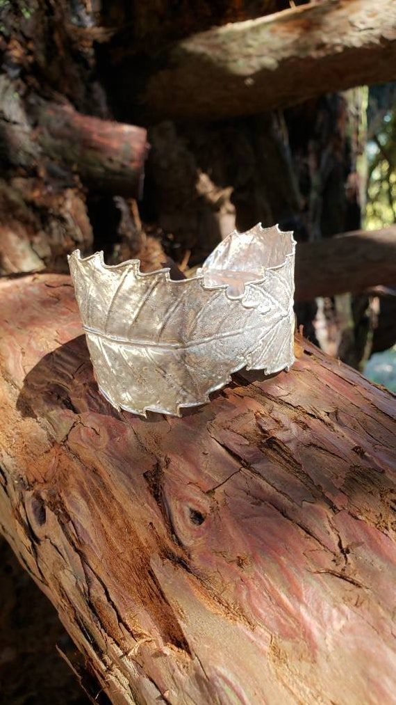 TanOak Leaf Cuff Bracelet - Northern California Forest Art Jewelry in Recycled Sterling Silver