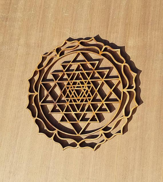 Sri Yantra Sustainable Wood Lasercut Wall Art or Crystal Grid