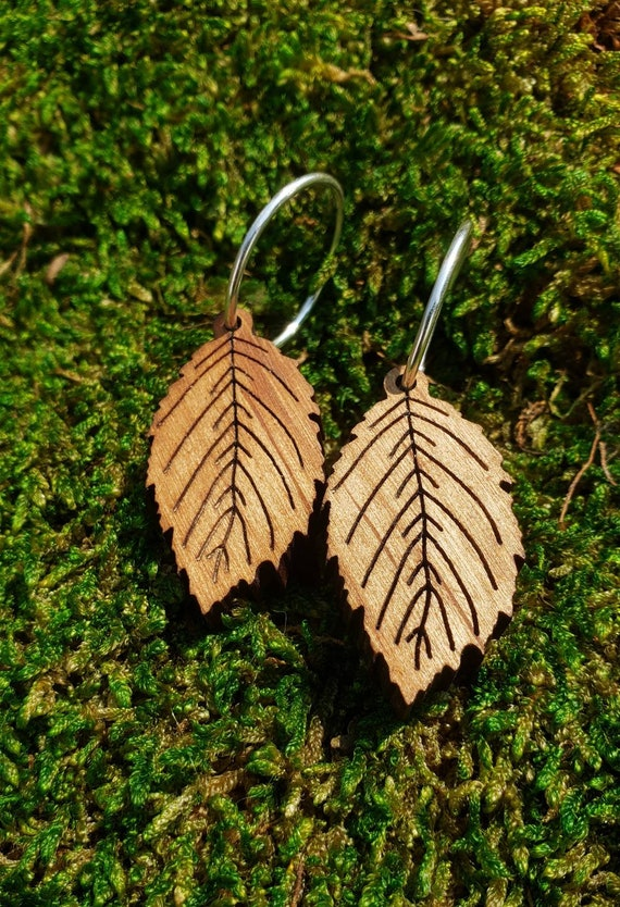 Alder Leaf Earrings in Pacific NW-grown Red Alder Wood with 925 Silver Hoops