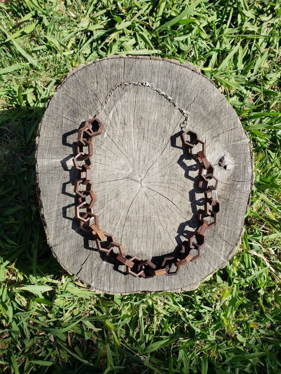 "Honeycomb Wood and Sterling Silver Hexagon 26"" Chain"