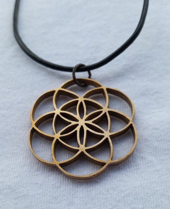 Seed of Life Cast Bronze Pendant - Sacred Geometry - Healing