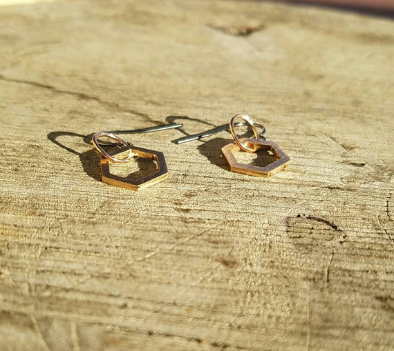 Hexagon Cast Bronze Dangle Earrings