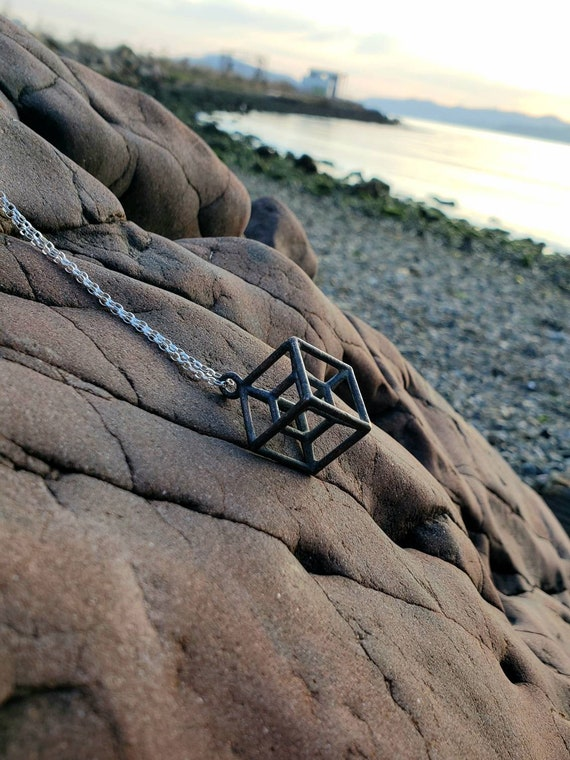 Hypercube Tesseract Pendant in Oxidized Recycled Shibuichi with 925 Silver Chain - Sacred Geometry - Hyperdimensional Cube
