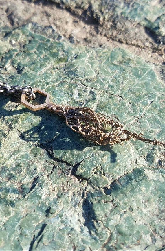 Usnea Tree Lichen and Hexagon Cast Bronze Necklace with Chain