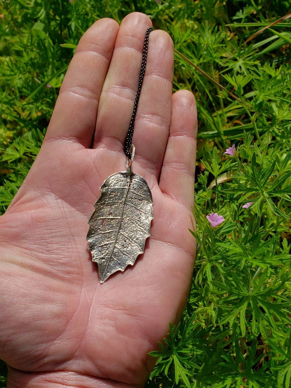 TanOak Leaf Hexagon Pendant - Northern California Forest Art Jewelry in Recycled Sterling Silver