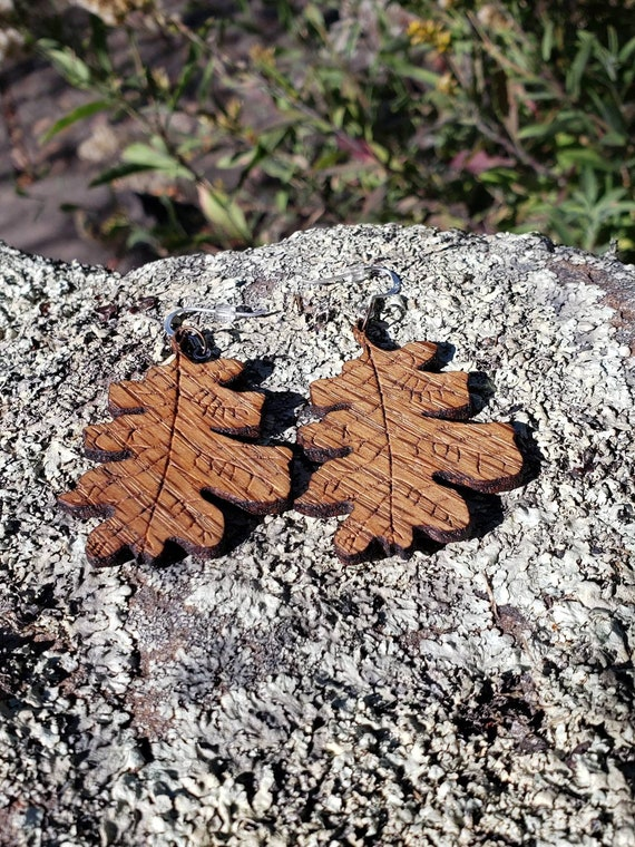 Valley Oak Leaf Earrings in Solid Garry Oak Wood with 925 Silver Ear Wires - Quercus Lobata - Northern California Fall Jewelry