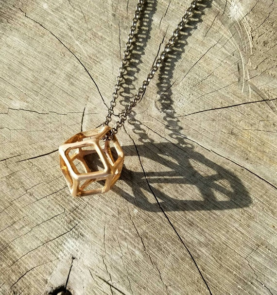 Rhombic Dodecahedron Sacred Geometry Bronze Pendant with Chain