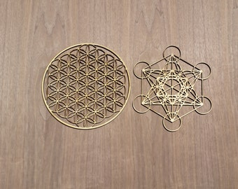 Flower of Life and Metatron's Cube Sustainable Wood Lasercut Wall Art or Crystal Grids