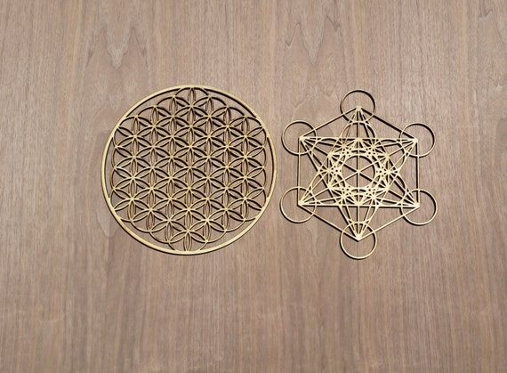 Flower of Life and Metatron's Cube Sustainable Wood Lasercut Wall Art