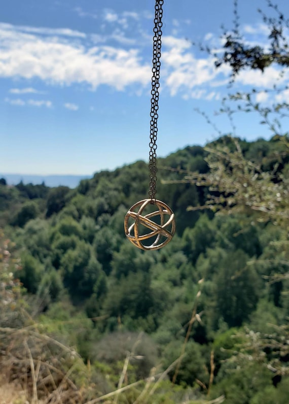 Genesa Crystal Sacred Geometry Pendant in Recycled Bronze w/ Copper Chain - 3D Printed / Lost Wax Cast Jewelry - Spherical CubeOctahedron