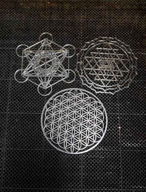 Mini Sacred Geometry Drafting Template in Lasercut Acrylic - Choice of Flower of Life, Metatron's Cube, or Sri Yantra - Rigid Stencil