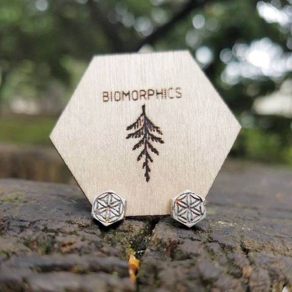 Seed Of Life Recycled Sterling Silver Sacred Geometry Stud Earrings - Contemporary Post Earrings