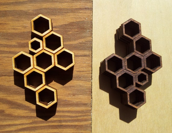 Honeycomb Lasercut Wood Pendant - Poplar or Walnut Stained