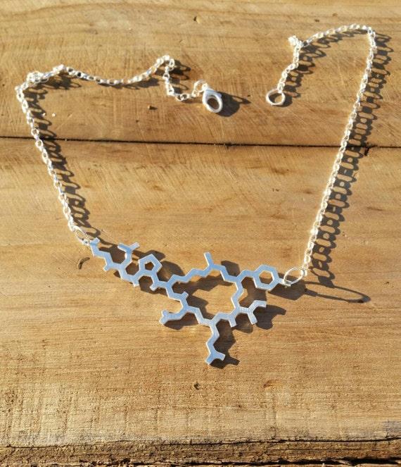 Oxytocin Molecule Structure Necklace in Sterling Silver - Contemporary Love Pendant