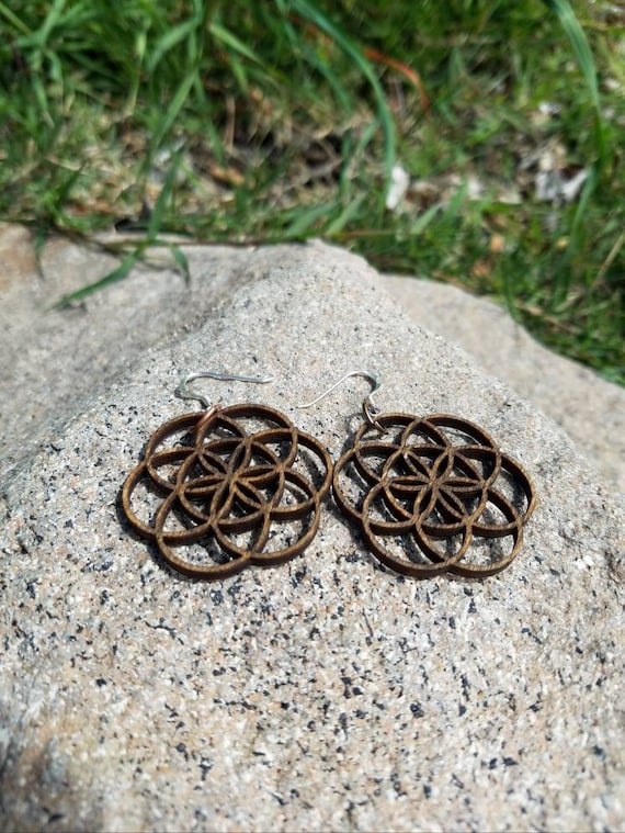 Seed Of Life Wood Dangle Earrings - Lasercut Reclaimed Wood with Silver Ear Hooks