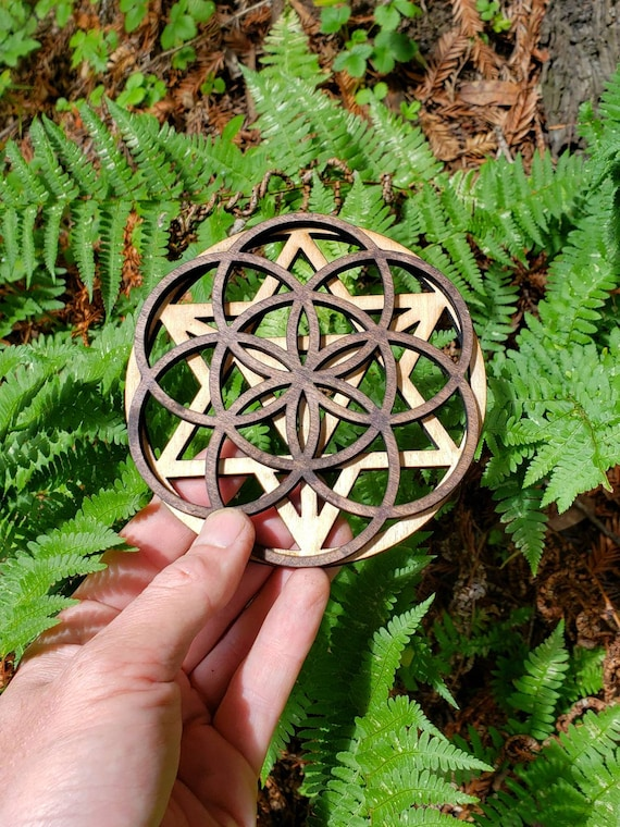 Mini Double Layer Sacred Geometry Wood Art or Crystal Grid - Star Tetrahedron - Seed of Life