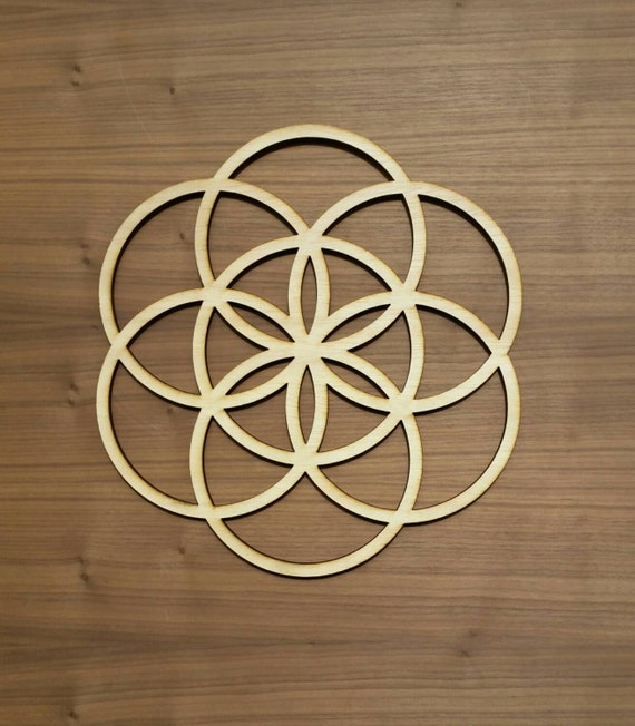 Seed of Life Sustainable Wood Lasercut Wall Art or Crystal Grid