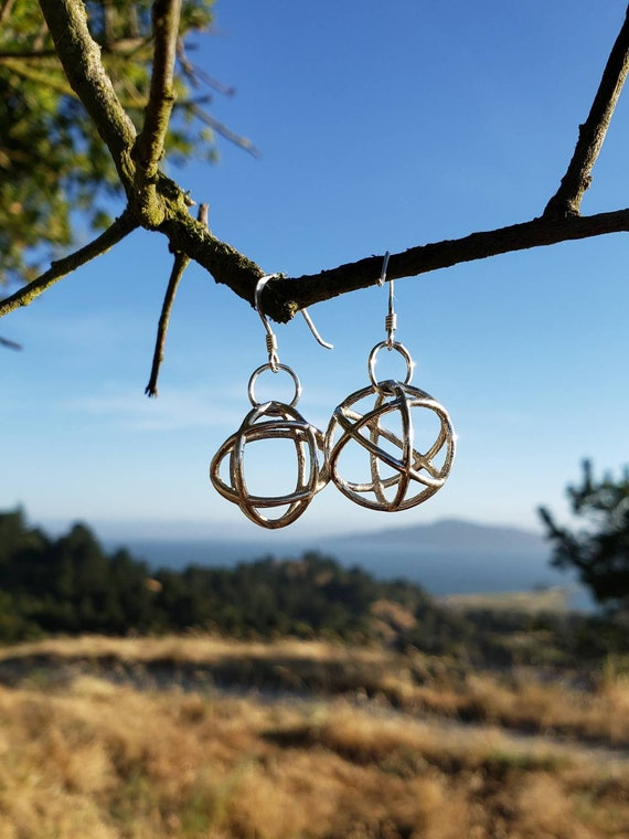 Genesa Crystal Sacred Geometry Earrings in Recycled Sterling Silver - 3D Printed / Lost Wax Cast Jewelry - Spherical CubeOctahedron