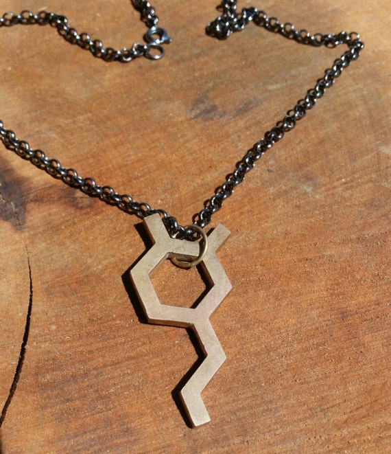 Dopamine Molecule Cast Bronze Science Jewelry with Chain