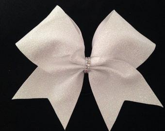"Cheer bow-holographic white ""super glitter"""