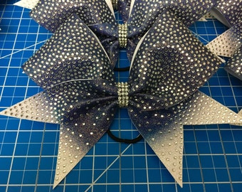 Rhinestone Royalty- Navy Ombre cheer bow