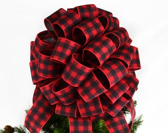buffalo plaid christmas tree topper red and black checkered present or gift bow - Buffalo Plaid Christmas Decor