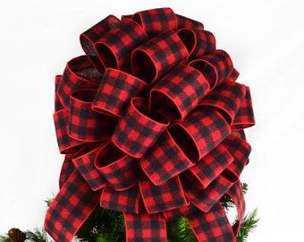 buffalo plaid christmas tree topper red and black checkered present or gift bow - Buffalo Plaid Christmas Decor